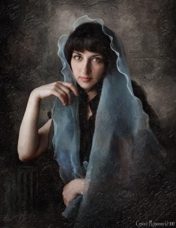 портрет девушки в голубом, обработанной под картину