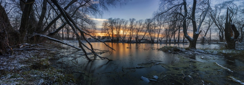 пруд, первый мороз...