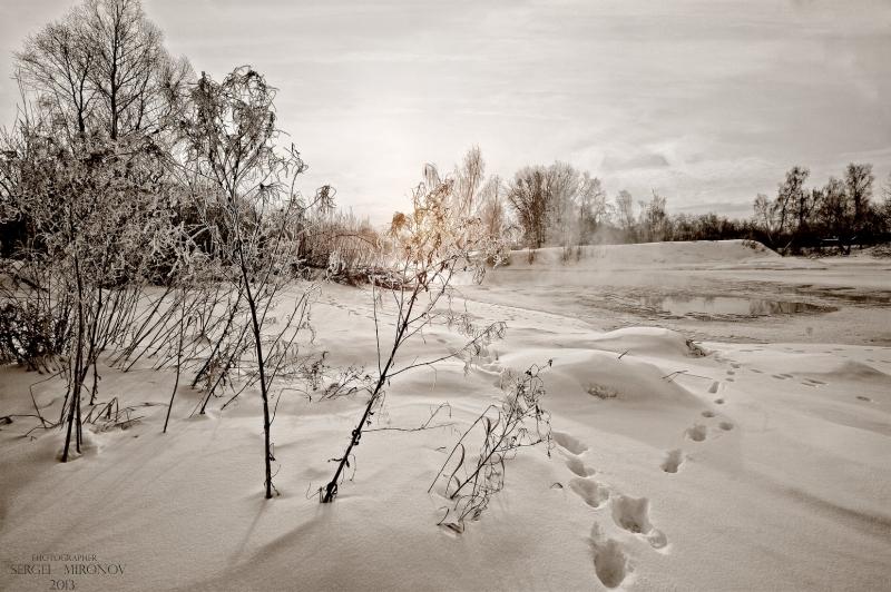 река Клязьма, зимний рассвет