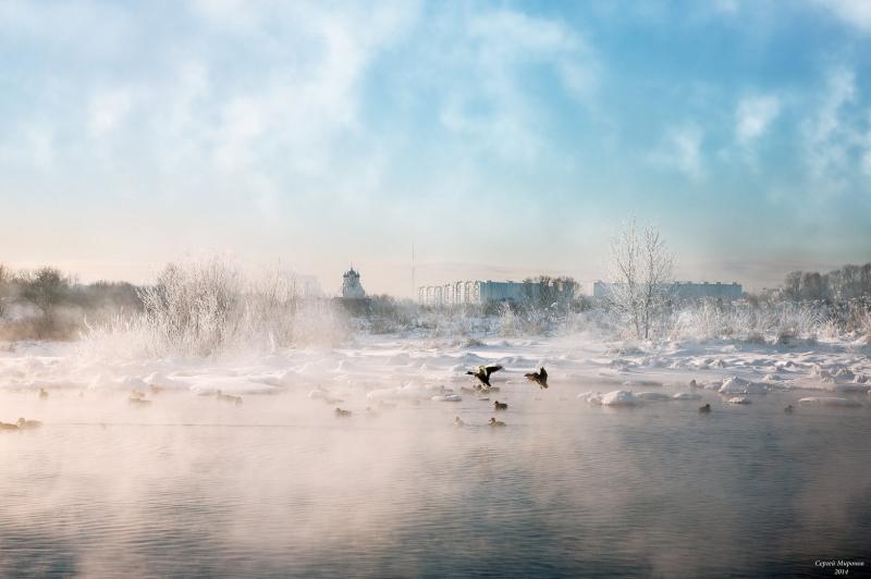 утренний вид на реку Сукромку, с задими планами на храм Благовещения и северное Медведково
