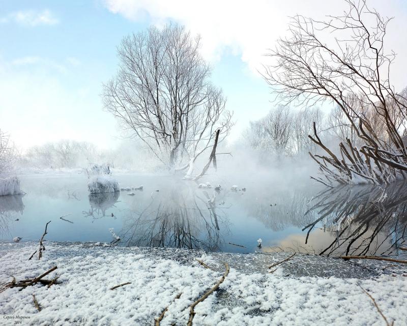 морозное утро на реке Сукромка