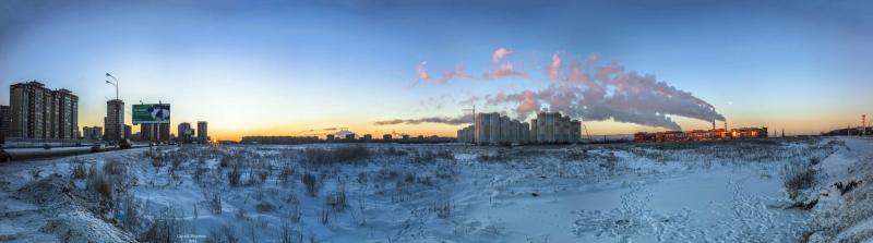 морозный рассвет в Мытищах