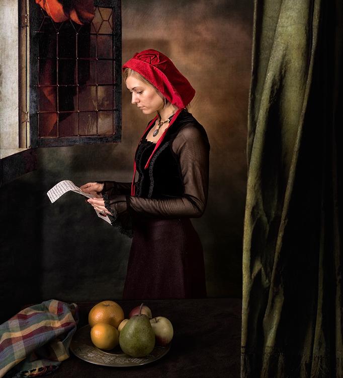 Девушка, читающая письмо у открытого окна. По мотивам одноименной картины Яна Вермеера (1657) | Искусство | Фотография #155146