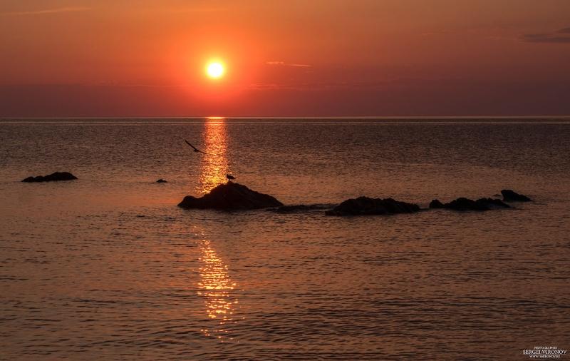 рассвет, море